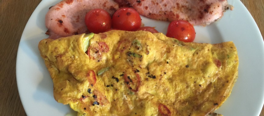 Mexican Style Omelette with English Bacon